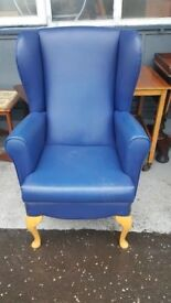 Blue Wing Back Chair in Great Condition