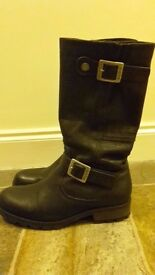 Women's Palladium Black Leather Boots UK Size 6