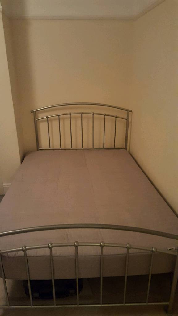 Double bed, metal bedframe and IKEA mattress