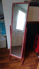 Self Standing Mirror - 122 x 34cm Mirror - 140cm Total Height - Painted in Red for Faded Look