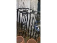 """wrought iron gates,pair, black steel, about 40"""" each wide"""