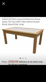 Solid oak coffee table with tiled top, brand new in box!