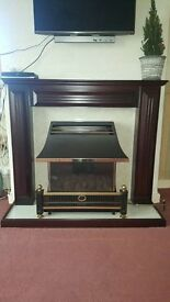 flavel renoir gas fire with wooden surrounding