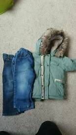 Parka coat plus 2 pair jeans
