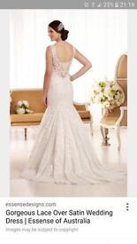 Gorgeous lace over satin wedding dress