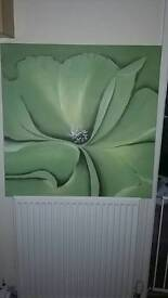 Lime green flower canvas