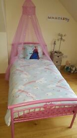 Girls single bed pink with canopy
