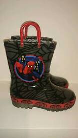 Spiderman light up sole kids wellingtons size UK11