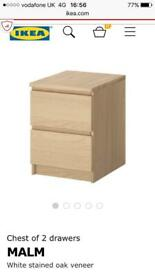 Malm 2 drawer bed side drawers