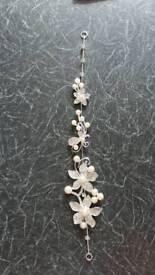 wedding bridal prom hair accessory crystal pearl silver