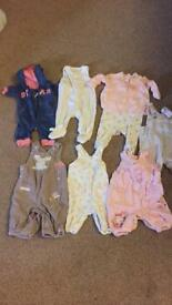 Baby girls 0-3 month dungarees and onesies bundle