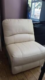 Cream leather one seater sofa chair