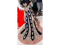Pink and blue Asian lengha