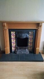 Cast Iron & Tiled fireplace with Wooden surround. Excellent Condition. Quick Sale.