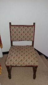 Three Antique solid wood oak chairs