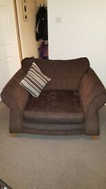 Chocolate dfs sofas with satin guard