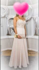 Champagne prom dress with champagne and clear crystal detail to top..size 8