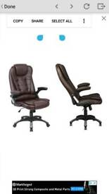 Executive Leather Gaming Computer Desk Office Swivel Reclining Massage Chair Recliner - Brown.