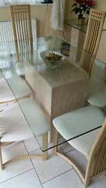 glass table & chairs & side table