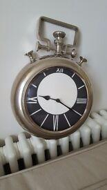 Clock retro vintage chrome silver brand new