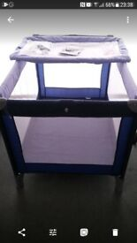 Travel cot with attachable changing tray...navy and white. Very good condition