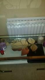 Retro glass coffee table flower motive