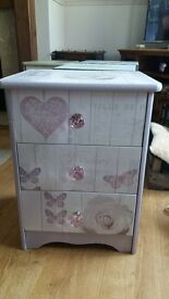 Lovely pink and lilac bedside table