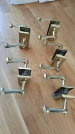 5X sets of Georgian rope edge scroll polished brass lever door handles.