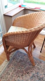 Conservatory Wicker Chair with Cushion Very Good Condition