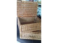 Two wicker hamper baskets