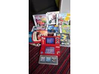 Nintendo DS Red with games, carry case and charger