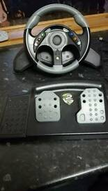 Steering wheel and games xbox 360