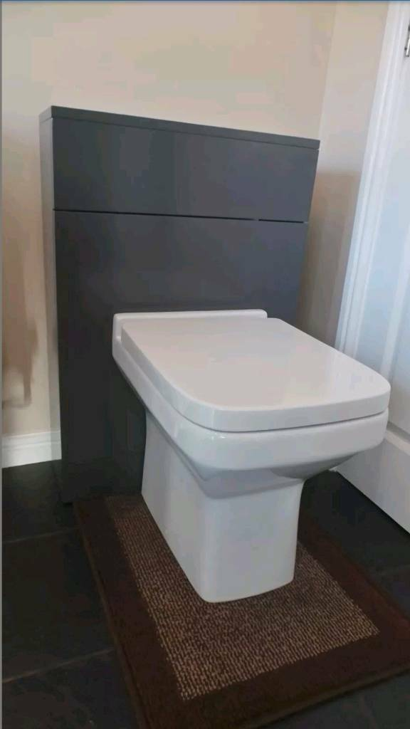 Grey wc unit + square style toilet & matching seat (no cistern/button)