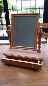 Pine dressing table swivel mirror & drawer