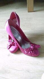 Cerise pink satin shoes