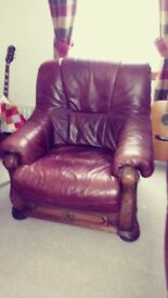 Leather sofa and chair.