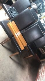 Solid wood table & leather chairs