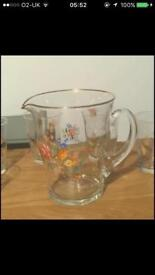Beautiful Floral Pitcher & Tumblers