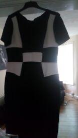 M & S Ladies Black & white dress, size 16
