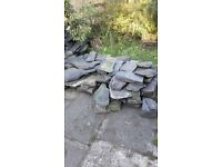 Slate stone pieces - various sizes and thickness, enough to build a small wall.