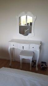 Shabby chic dressing table mirror stool