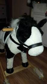 Children's unisex rocking horse black and white like new