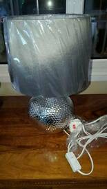 Pair of new chrome style table lamps silver shades etc