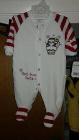 Baby boys 3-6 months santa babygrow