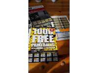 x20 Paintball Tickets for Sale with 2000 free paintballs