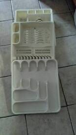 Dish drainers and cutlery tray.