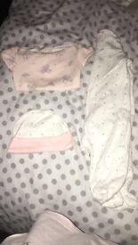 Babygrow, hat and vest set