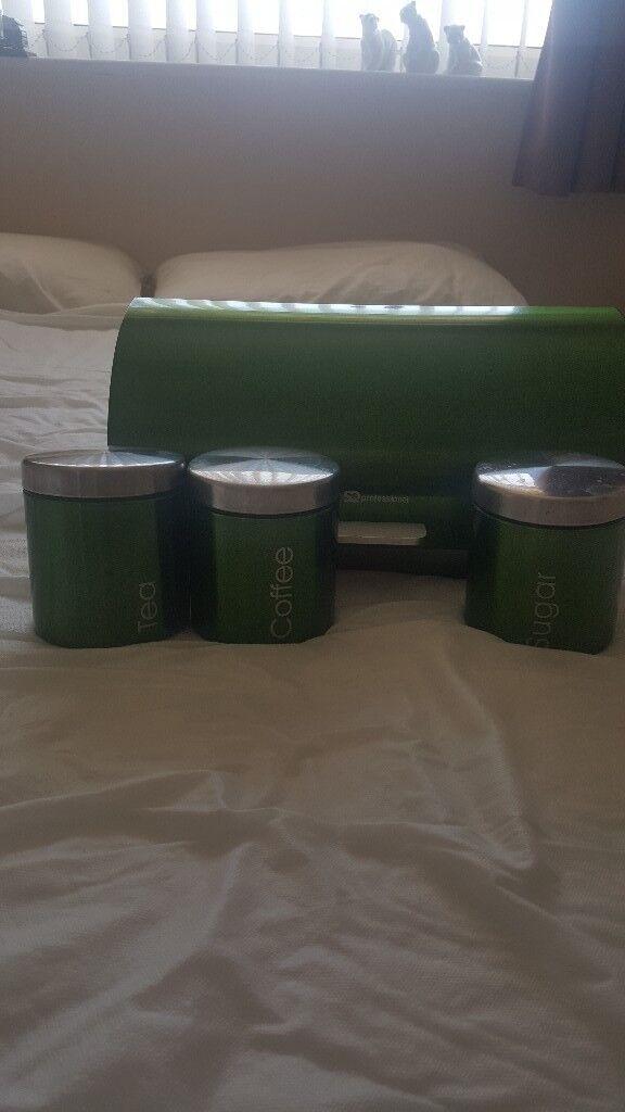 Tea coffee sugar canisters plus bread bin