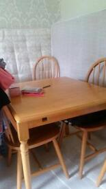 Oak square solid dining table with 4 oak chairs