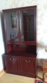 Mahogany Glass Display Cabinet and cupboard